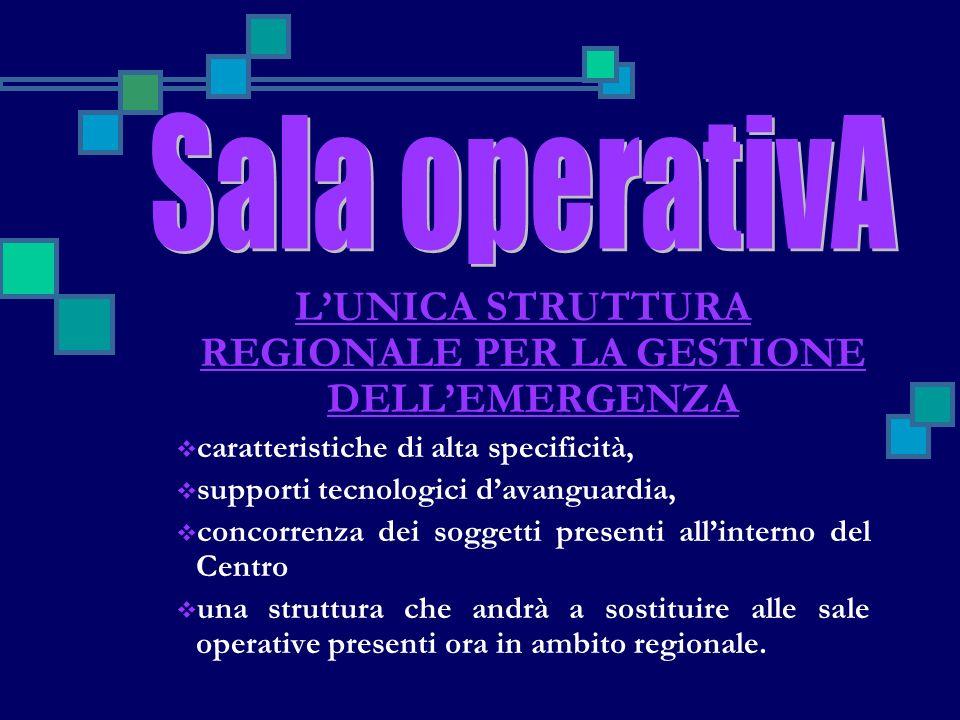 LUNICA STRUTTURA REGIONALE PER LA GESTIONE DELLEMERGENZA caratteristiche di alta specificità, supporti tecnologici davanguardia, concorrenza dei sogge