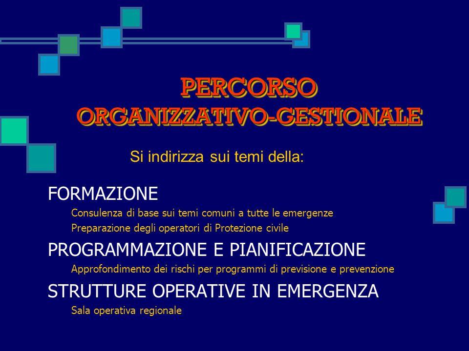 PERCORSO ORGANIZZATIVO-GESTIONALE FORMAZIONE Consulenza di base sui temi comuni a tutte le emergenze Preparazione degli operatori di Protezione civile