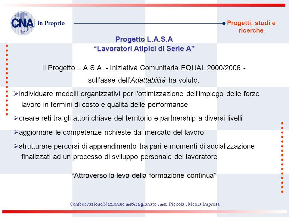 Progetti, studi e ricerche Progetto L.A.S.A Lavoratori Atipici di Serie A Il Progetto L.A.S.A. - Iniziativa Comunitaria EQUAL 2000/2006 - sullasse del