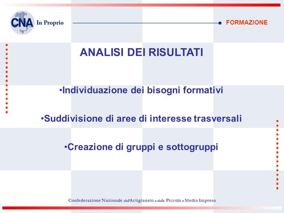 FORMAZIONE ANALISI DEI RISULTATI Individuazione dei bisogni formativi Suddivisione di aree di interesse trasversali Creazione di gruppi e sottogruppi