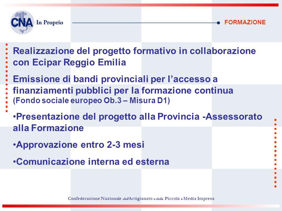 FORMAZIONE Realizzazione del progetto formativo in collaborazione con Ecipar Reggio Emilia Emissione di bandi provinciali per laccesso a finanziamenti