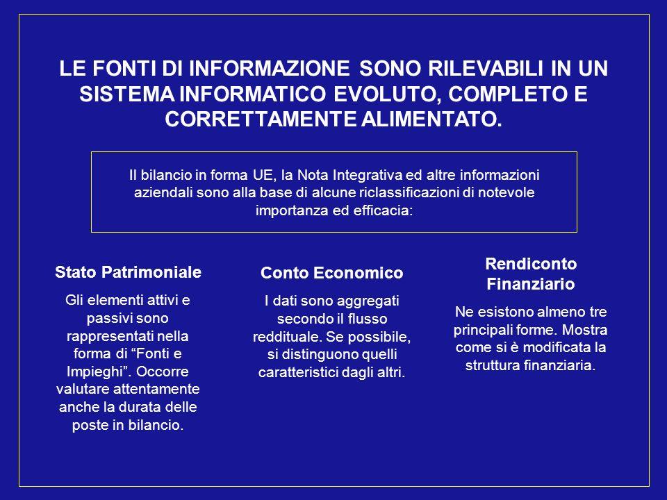 LE FONTI DI INFORMAZIONE SONO RILEVABILI IN UN SISTEMA INFORMATICO EVOLUTO, COMPLETO E CORRETTAMENTE ALIMENTATO.