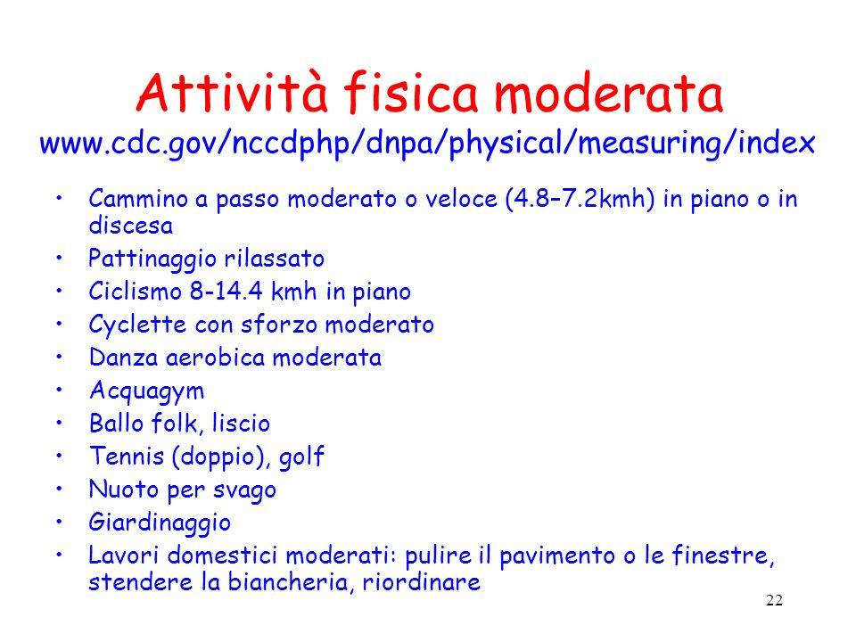 22 Attività fisica moderata www.cdc.gov/nccdphp/dnpa/physical/measuring/index Cammino a passo moderato o veloce (4.8–7.2kmh) in piano o in discesa Pat