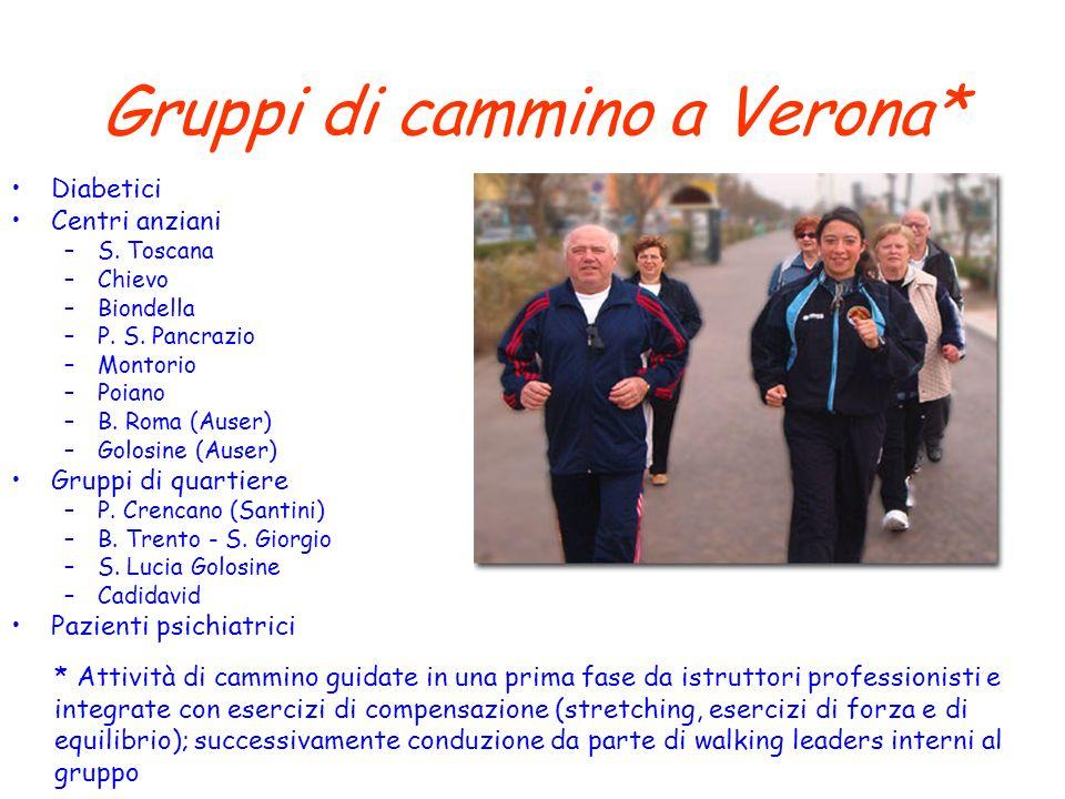 Gruppi di cammino a Verona* Diabetici Centri anziani –S. Toscana –Chievo –Biondella –P. S. Pancrazio –Montorio –Poiano –B. Roma (Auser) –Golosine (Aus