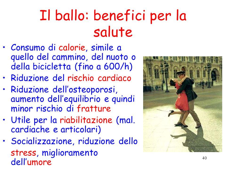 40 Il ballo: benefici per la salute Consumo di calorie, simile a quello del cammino, del nuoto o della bicicletta (fino a 600/h) Riduzione del rischio