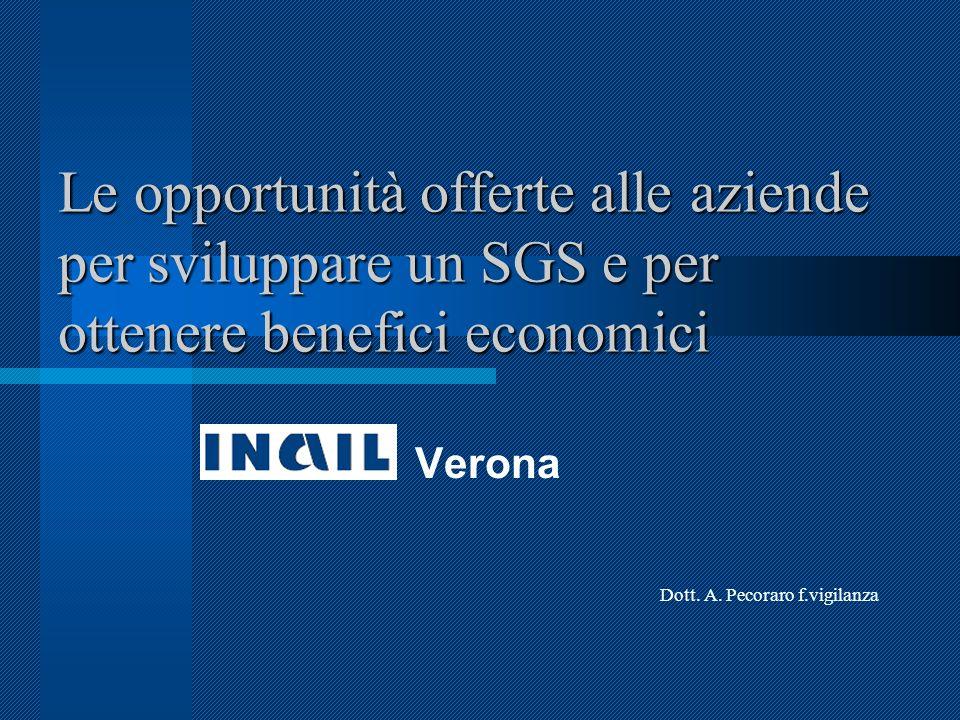 Le opportunità offerte alle aziende per sviluppare un SGS e per ottenere benefici economici Verona Dott.