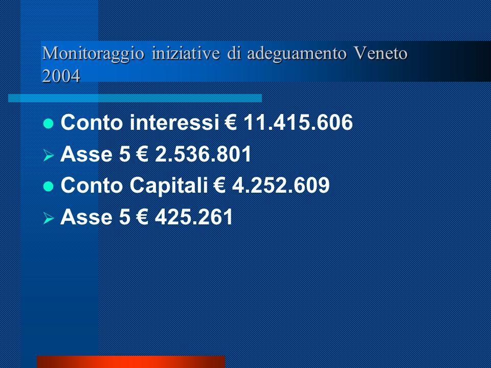 Monitoraggio iniziative di adeguamento Veneto 2004 Conto interessi 11.415.606 Asse 5 2.536.801 Conto Capitali 4.252.609 Asse 5 425.261