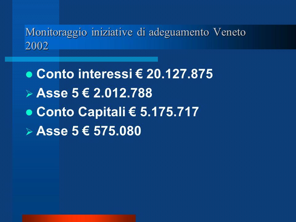 Monitoraggio iniziative di adeguamento Veneto 2002 Conto interessi 20.127.875 Asse 5 2.012.788 Conto Capitali 5.175.717 Asse 5 575.080