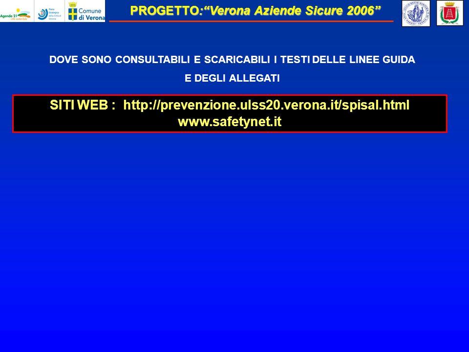 PROGETTO:Verona Aziende Sicure 2006 DOVE SONO CONSULTABILI E SCARICABILI I TESTI DELLE LINEE GUIDA E DEGLI ALLEGATI SITI WEB : http://prevenzione.ulss20.verona.it/spisal.html www.safetynet.it
