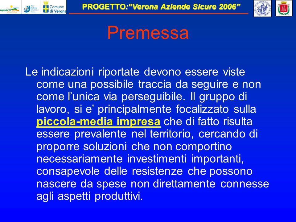PROGETTO:Verona Aziende Sicure 2006 Premessa Le indicazioni riportate devono essere viste come una possibile traccia da seguire e non come lunica via perseguibile.