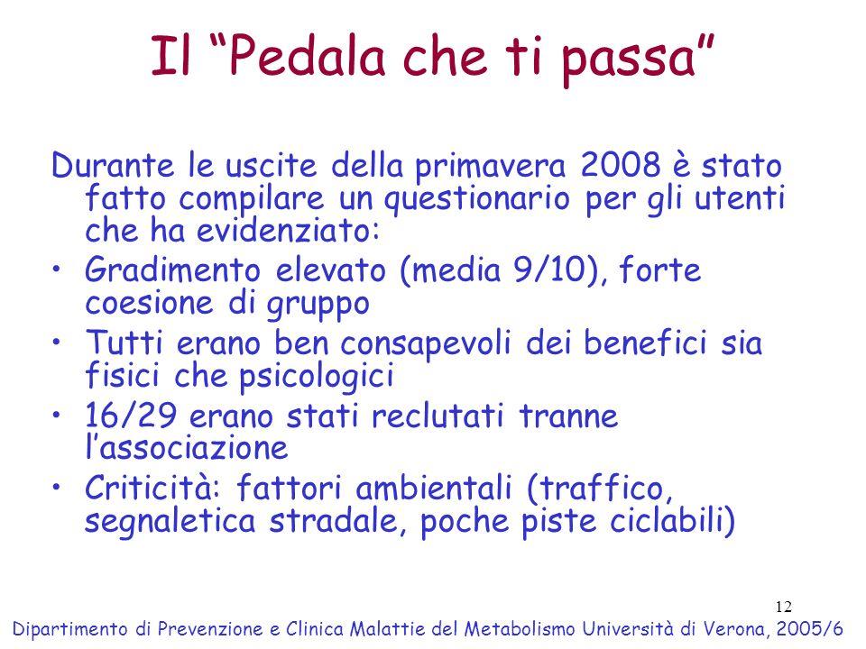 12 Il Pedala che ti passa Durante le uscite della primavera 2008 è stato fatto compilare un questionario per gli utenti che ha evidenziato: Gradimento