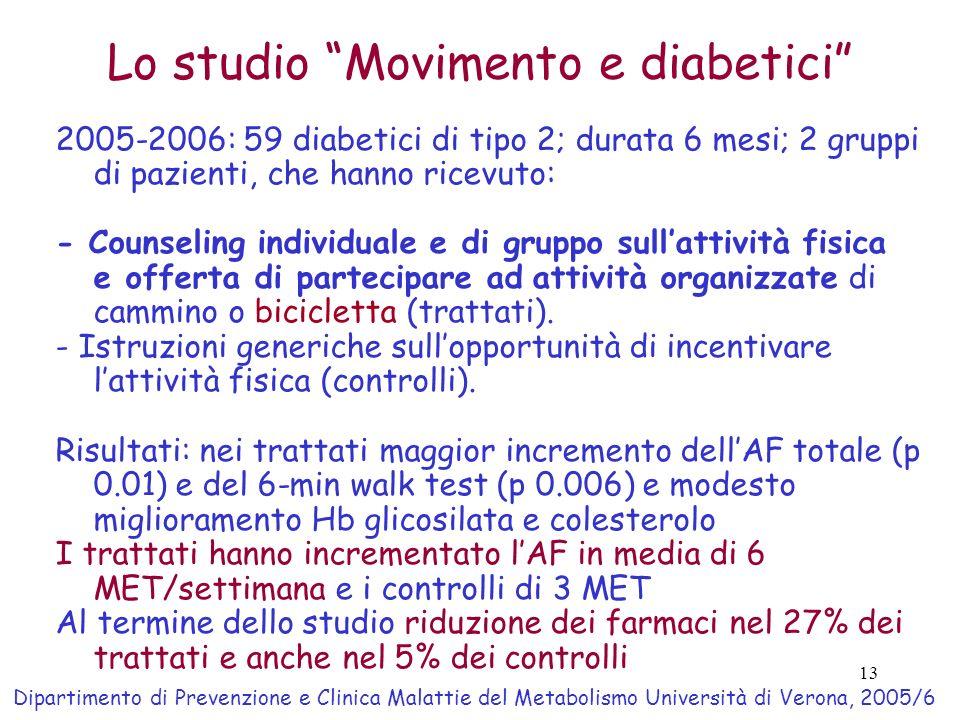 13 Lo studio Movimento e diabetici 2005-2006: 59 diabetici di tipo 2; durata 6 mesi; 2 gruppi di pazienti, che hanno ricevuto: - Counseling individual