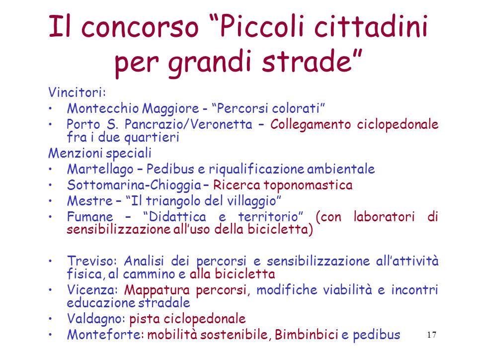 17 Il concorso Piccoli cittadini per grandi strade Vincitori: Montecchio Maggiore - Percorsi colorati Porto S. Pancrazio/Veronetta – Collegamento cicl
