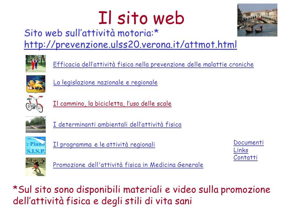 Sito web sullattività motoria:* http://prevenzione.ulss20.verona.it/attmot.html Il cammino, la bicicletta, luso delle scale Documenti Links Contatti E