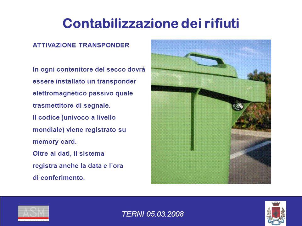 ATTIVAZIONE TRANSPONDER In ogni contenitore del secco dovrà essere installato un transponder elettromagnetico passivo quale trasmettitore di segnale.