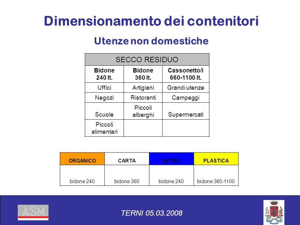 SECCO RESIDUO Bidone 240 lt. Bidone 360 lt. Cassonetto/i 660-1100 lt.