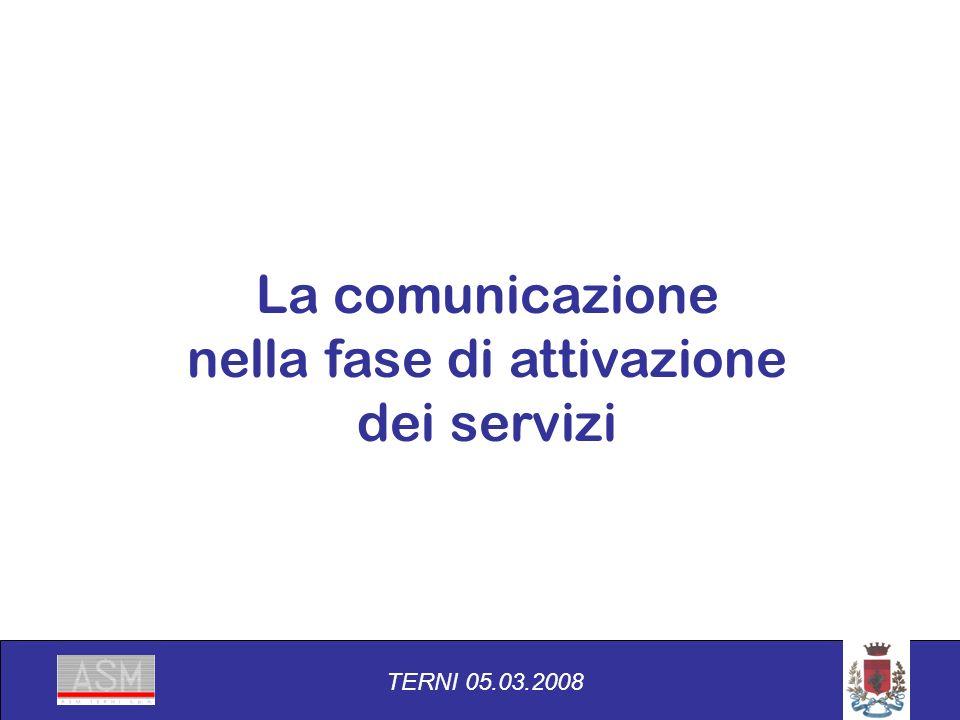 La comunicazione nella fase di attivazione dei servizi TERNI 05.03.2008