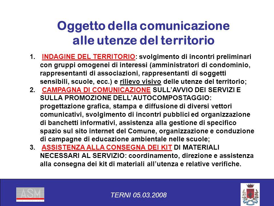 Oggetto della comunicazione alle utenze del territorio 1.