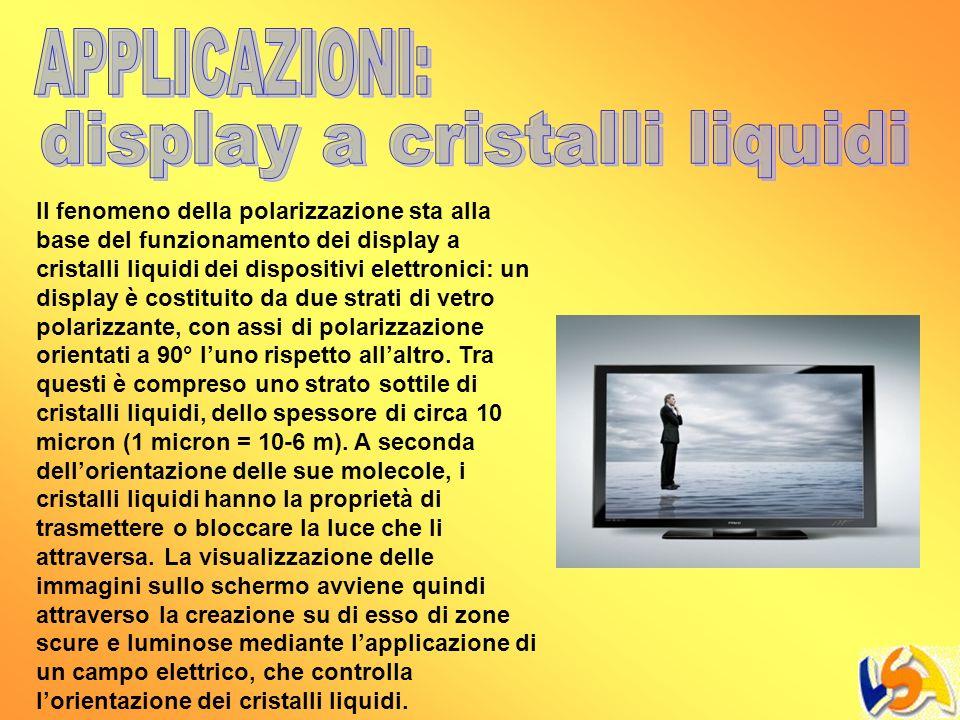 Il fenomeno della polarizzazione sta alla base del funzionamento dei display a cristalli liquidi dei dispositivi elettronici: un display è costituito