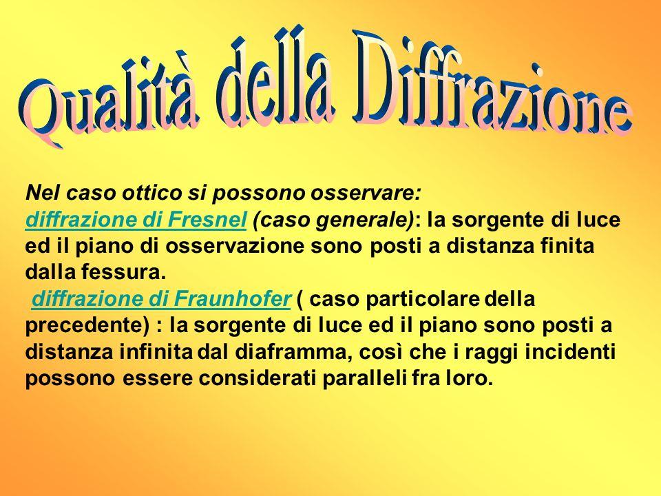 Nel caso ottico si possono osservare: diffrazione di Fresneldiffrazione di Fresnel (caso generale): la sorgente di luce ed il piano di osservazione so