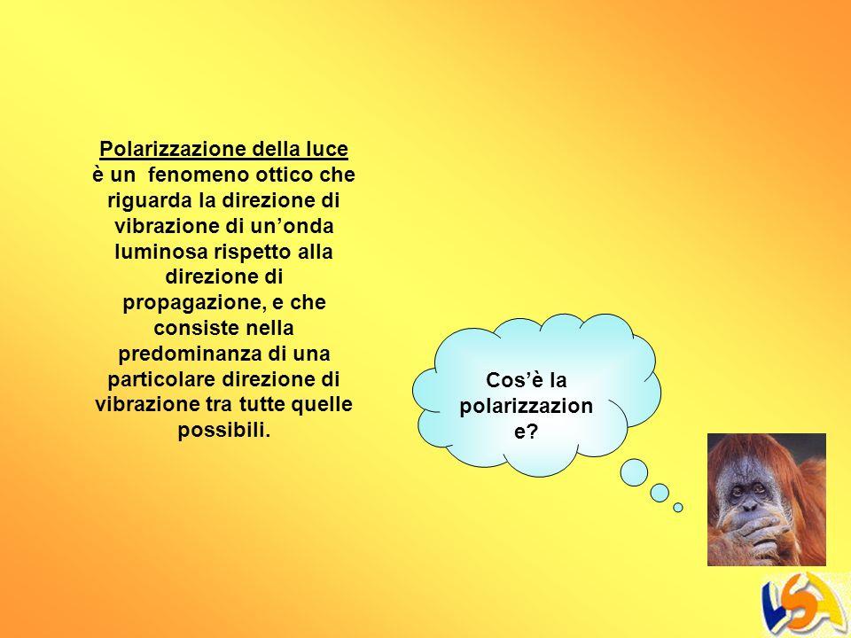 Cosè la polarizzazion e? Polarizzazione della luce è un fenomeno ottico che riguarda la direzione di vibrazione di unonda luminosa rispetto alla direz