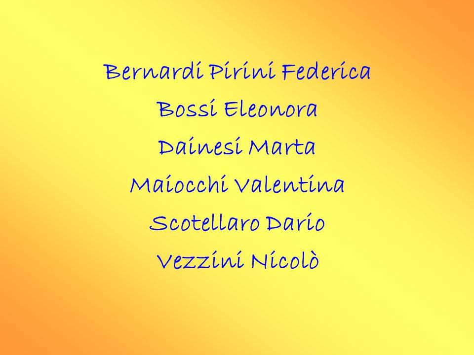 Bernardi Pirini Federica Bossi Eleonora Dainesi Marta Maiocchi Valentina Scotellaro Dario Vezzini Nicolò