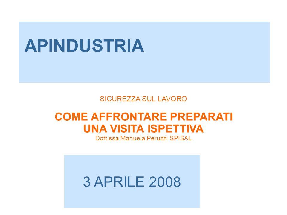 APINDUSTRIA 3 APRILE 2008 SICUREZZA SUL LAVORO COME AFFRONTARE PREPARATI UNA VISITA ISPETTIVA Dott.ssa Manuela Peruzzi SPISAL