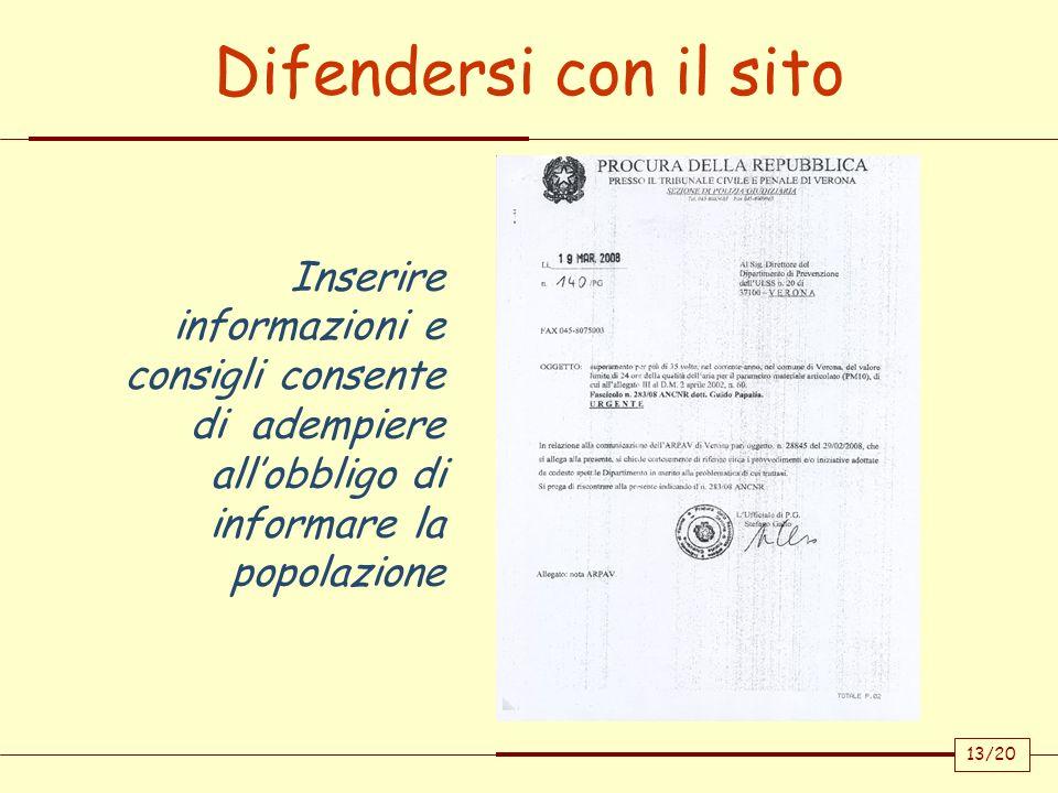 13/20 Inserire informazioni e consigli consente di adempiere allobbligo di informare la popolazione Difendersi con il sito