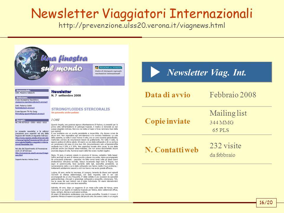 16/20 Newsletter Viaggiatori Internazionali http://prevenzione.ulss20.verona.it/viagnews.html Newsletter Viag. Int. Data di avvioFebbraio 2008 Copie i