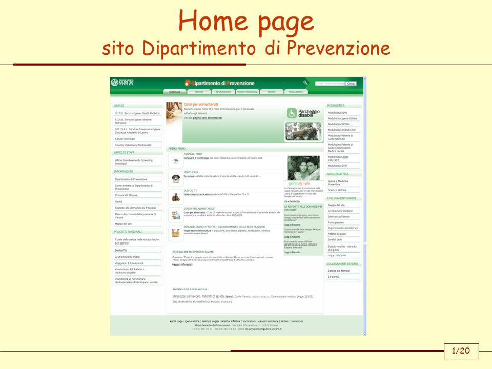 Home page sito Dipartimento di Prevenzione 1/20