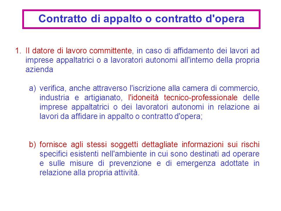 1.Il datore di lavoro committente, in caso di affidamento dei lavori ad imprese appaltatrici o a lavoratori autonomi all'interno della propria azienda