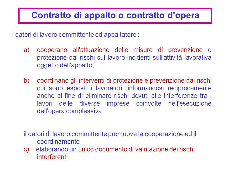 i datori di lavoro committente ed appaltatore : a)cooperano all'attuazione delle misure di prevenzione e protezione dai rischi sul lavoro incidenti su