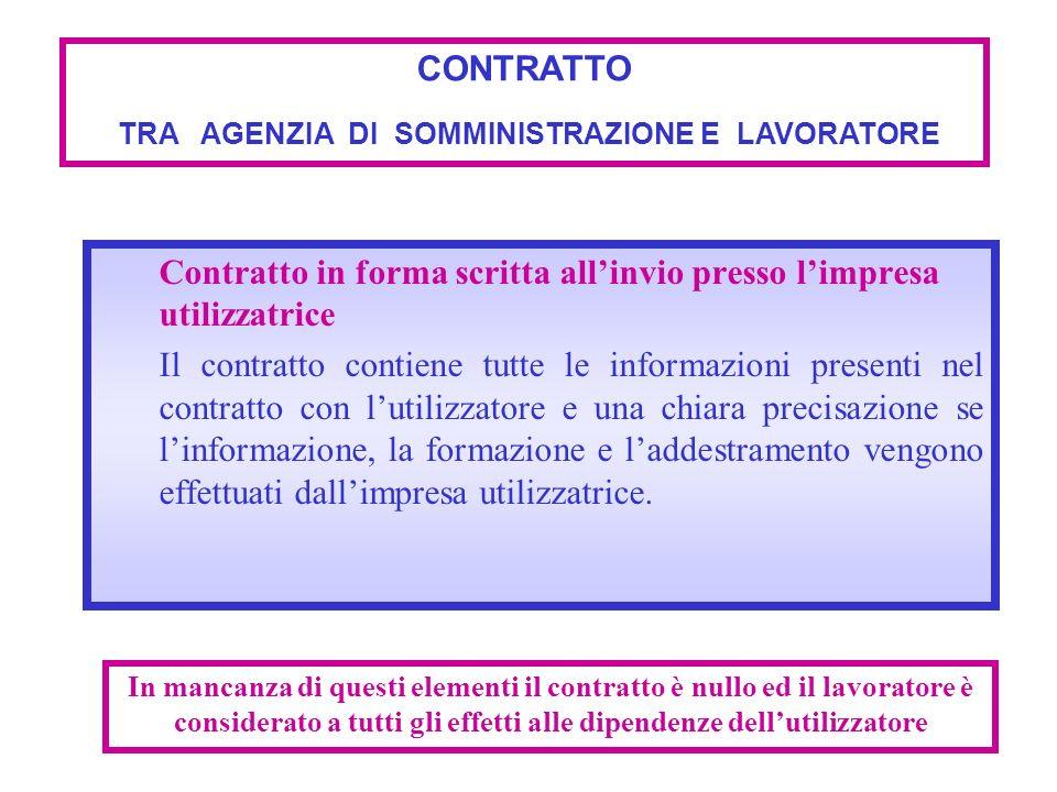 Contratto in forma scritta allinvio presso limpresa utilizzatrice Il contratto contiene tutte le informazioni presenti nel contratto con lutilizzatore