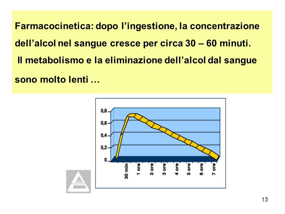 13 Farmacocinetica: dopo lingestione, la concentrazione dellalcol nel sangue cresce per circa 30 – 60 minuti. Il metabolismo e la eliminazione dellalc