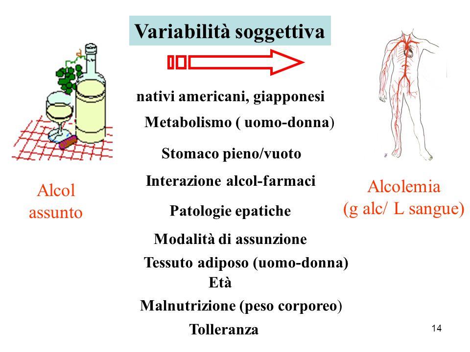 14 Variabilità soggettiva Alcol assunto Alcolemia (g alc/ L sangue) Metabolismo ( uomo-donna) Stomaco pieno/vuoto Interazione alcol-farmaci Patologie