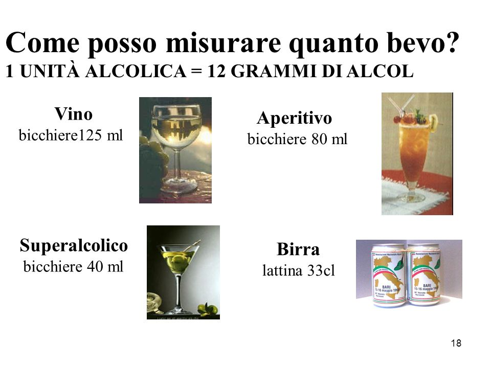 18 Come posso misurare quanto bevo? 1 UNITÀ ALCOLICA = 12 GRAMMI DI ALCOL Vino bicchiere125 ml Aperitivo bicchiere 80 ml Superalcolico bicchiere 40 ml