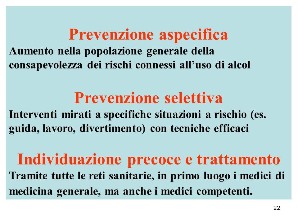 22 Prevenzione aspecifica Aumento nella popolazione generale della consapevolezza dei rischi connessi alluso di alcol Prevenzione selettiva Interventi mirati a specifiche situazioni a rischio (es.