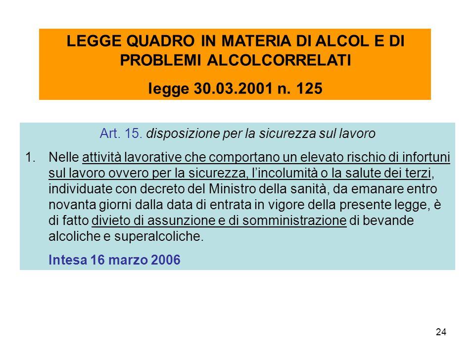 24 Art. 15. disposizione per la sicurezza sul lavoro 1.Nelle attività lavorative che comportano un elevato rischio di infortuni sul lavoro ovvero per