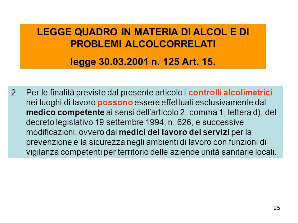 25 2.Per le finalità previste dal presente articolo i controlli alcolimetrici nei luoghi di lavoro possono essere effettuati esclusivamente dal medico