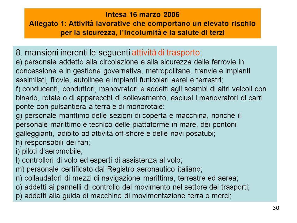 30 Intesa 16 marzo 2006 Allegato 1: Attività lavorative che comportano un elevato rischio per la sicurezza, lincolumità e la salute di terzi 8. mansio