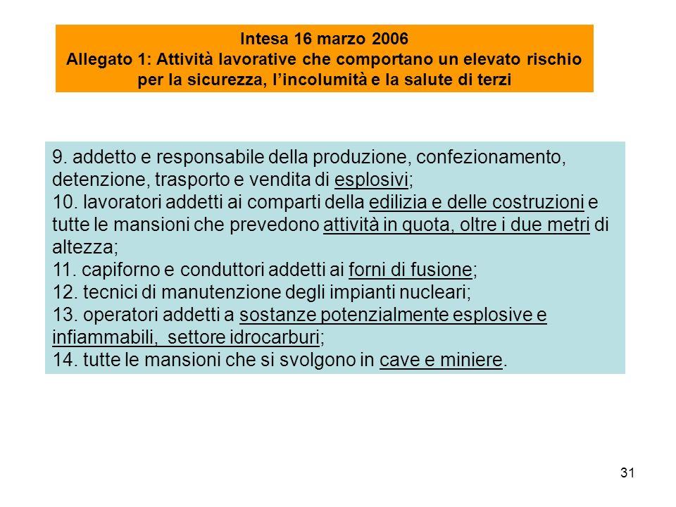 31 9. addetto e responsabile della produzione, confezionamento, detenzione, trasporto e vendita di esplosivi; 10. lavoratori addetti ai comparti della