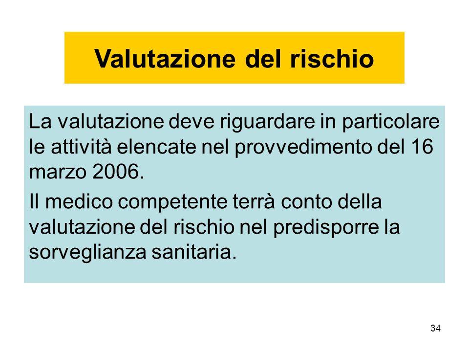 34 La valutazione deve riguardare in particolare le attività elencate nel provvedimento del 16 marzo 2006. Il medico competente terrà conto della valu
