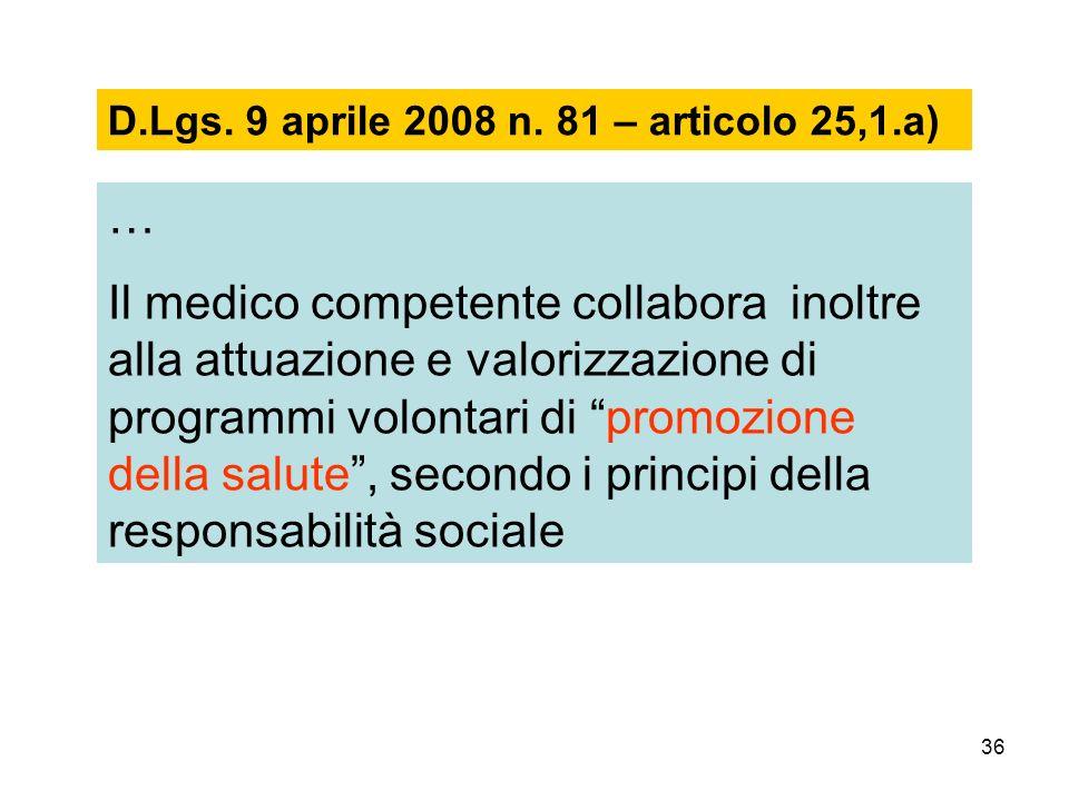 36 D.Lgs. 9 aprile 2008 n. 81 – articolo 25,1.a) … Il medico competente collabora inoltre alla attuazione e valorizzazione di programmi volontari di p