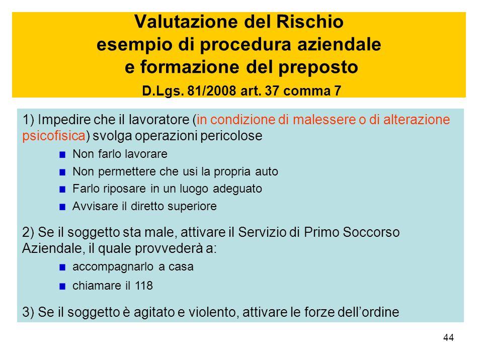 44 Valutazione del Rischio esempio di procedura aziendale e formazione del preposto D.Lgs. 81/2008 art. 37 comma 7 1) Impedire che il lavoratore (in c