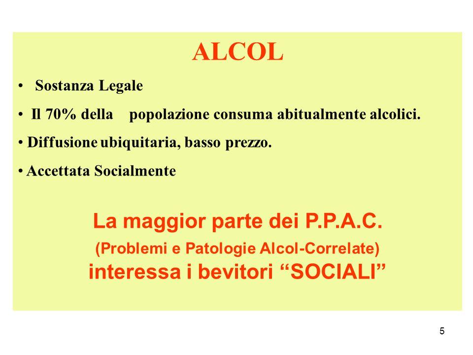 5 ALCOL Sostanza Legale Il 70% della popolazione consuma abitualmente alcolici. Diffusione ubiquitaria, basso prezzo. Accettata Socialmente La maggior
