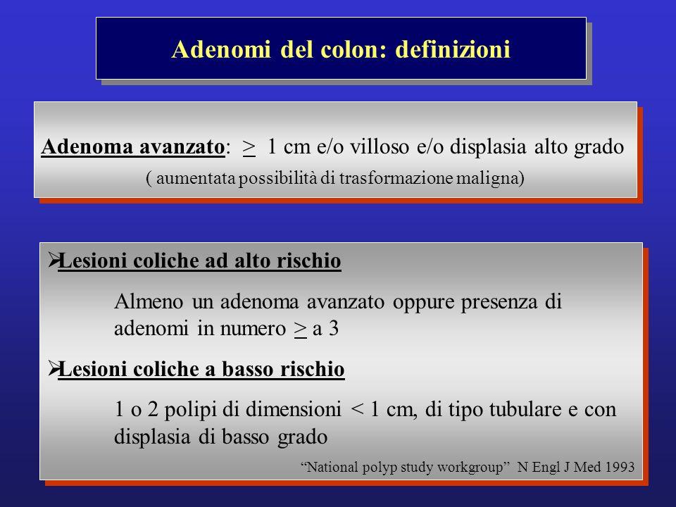 Adenomi del colon: definizioni Adenoma avanzato: > 1 cm e/o villoso e/o displasia alto grado ( aumentata possibilità di trasformazione maligna) Adenom