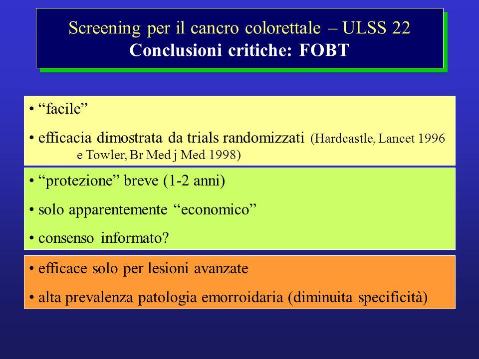 Screening per il cancro colorettale – ULSS 22 Conclusioni critiche: FOBT facile efficacia dimostrata da trials randomizzati (Hardcastle, Lancet 1996 e