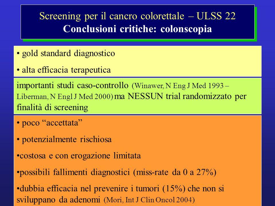 Screening per il cancro colorettale – ULSS 22 Conclusioni critiche: colonscopia gold standard diagnostico alta efficacia terapeutica importanti studi