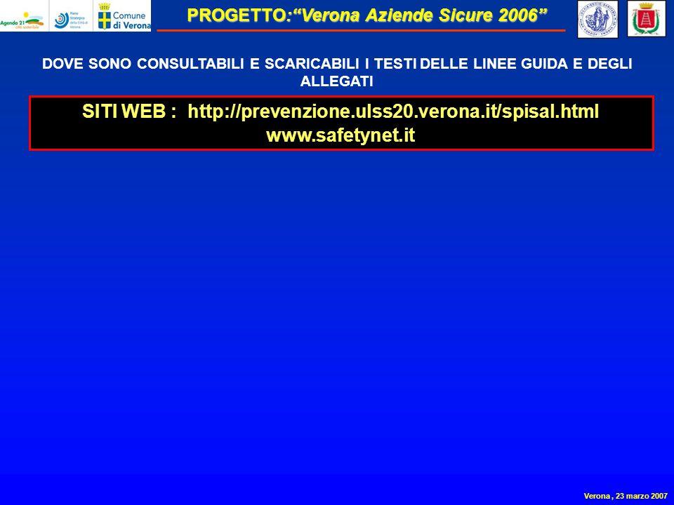 PROGETTO:Verona Aziende Sicure 2006 Verona, 23 marzo 2007 DOVE SONO CONSULTABILI E SCARICABILI I TESTI DELLE LINEE GUIDA E DEGLI ALLEGATI SITI WEB : http://prevenzione.ulss20.verona.it/spisal.html www.safetynet.it