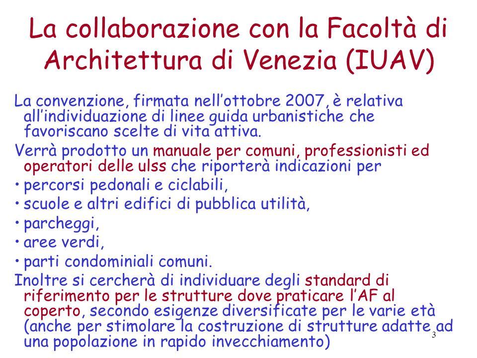 3 La collaborazione con la Facoltà di Architettura di Venezia (IUAV) La convenzione, firmata nellottobre 2007, è relativa allindividuazione di linee guida urbanistiche che favoriscano scelte di vita attiva.